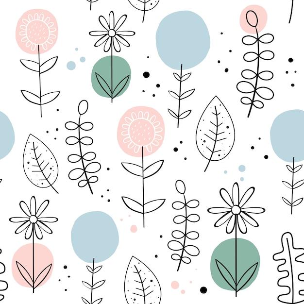 Vector naadloos patroon met bloemen. scandinavische stijl. Premium Vector