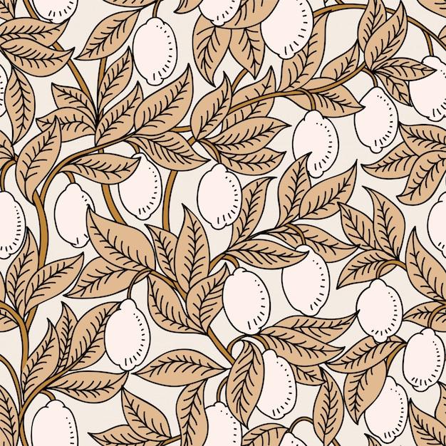 Vector naadloos patroon met citroenen Premium Vector