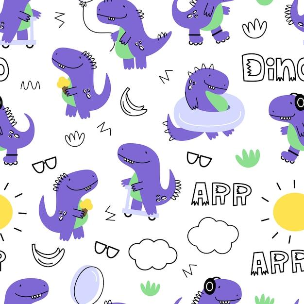 Vector naadloos patroon met dinosaurussen. cartoon stijl. kinder print. Premium Vector