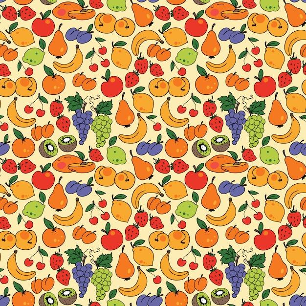 Vector naadloos patroon met fruit Premium Vector