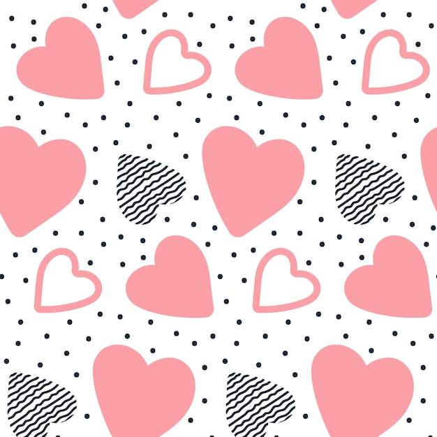 Vector naadloos patroon met hand getrokken harten. Premium Vector