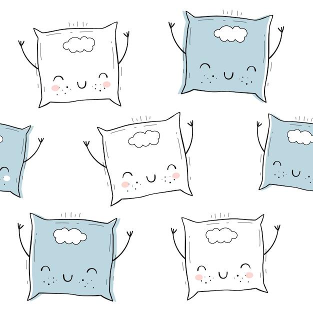 Vector naadloos patroon met hoofdkussen. scandinavische motieven. baby print. cartoon achtergrond. Premium Vector