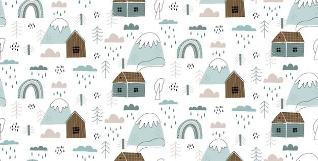 Vector naadloos patroon met huizen, bergen, bomen, wolken, regen en regenboog. Premium Vector