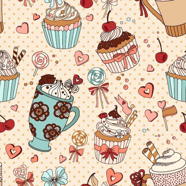 Vector naadloos patroon met koppen koffie en cupcakes Premium Vector