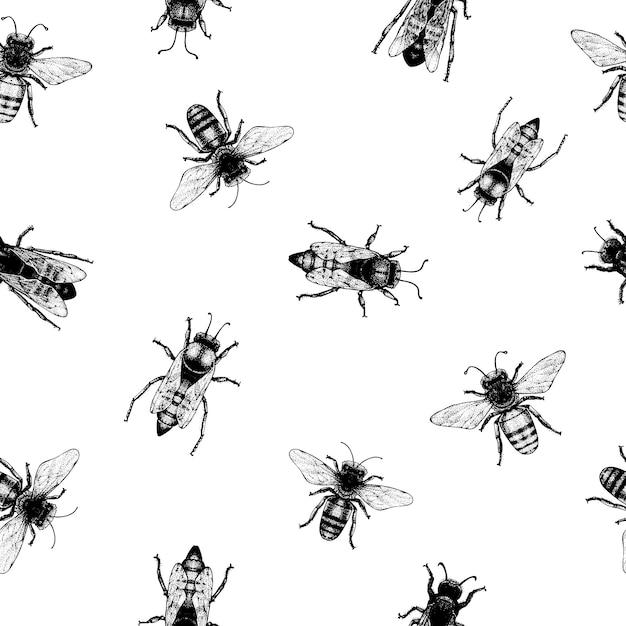 Vector naadloos patroon met kruipende bijen. vintage-stijl. Premium Vector