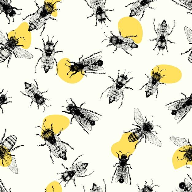Vector naadloos patroon met kruipende bijen. Premium Vector
