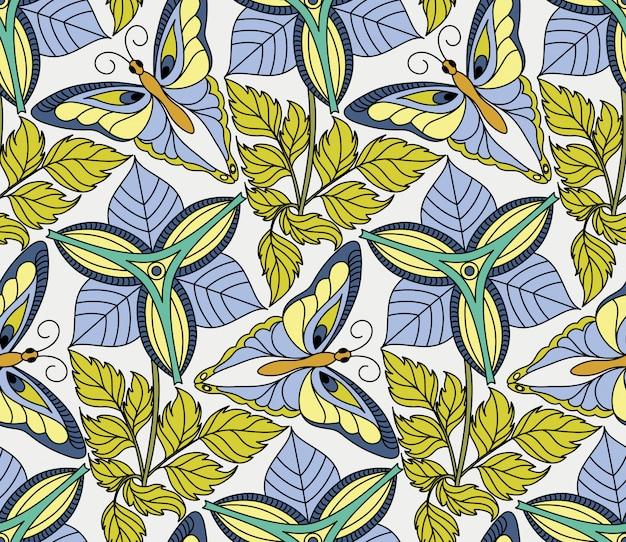Vector naadloos patroon met vlinders en bloemen Premium Vector