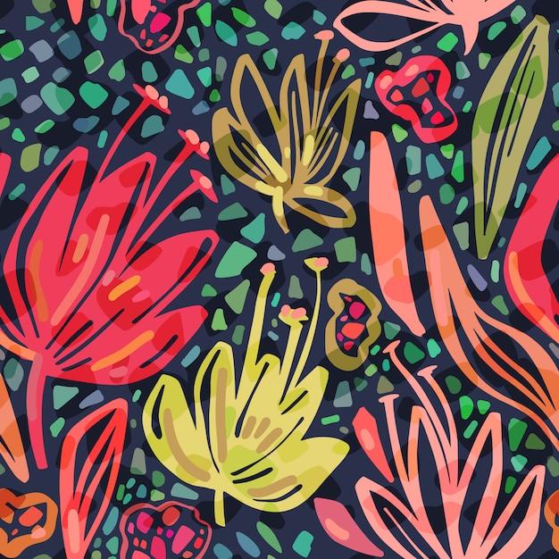 Vector naadloos tropisch patroon met heldere minimalistic bloemen op donkere achtergrond. Premium Vector