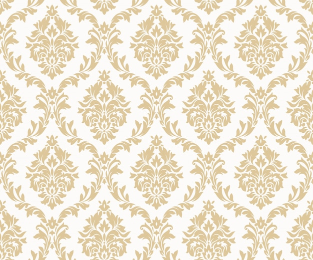 Vector naadloze damast gouden patronen. rijk ornament, oud damascus-stijl gouden patroon Premium Vector