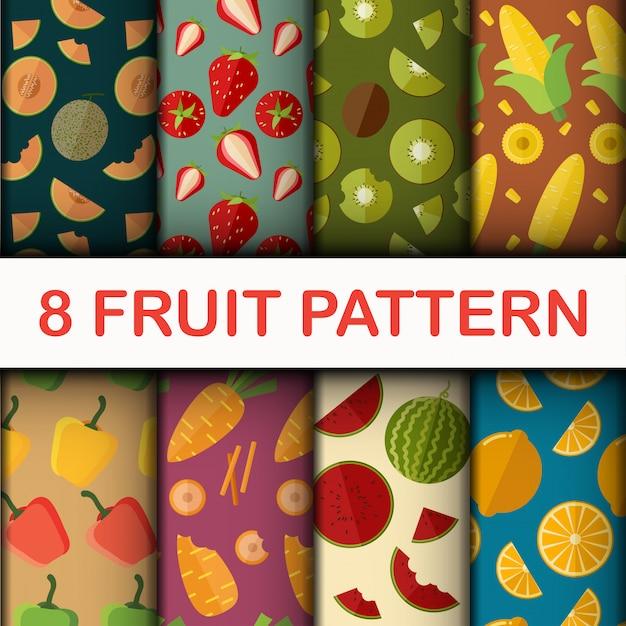 Vector naadloze fruit patroon set Premium Vector