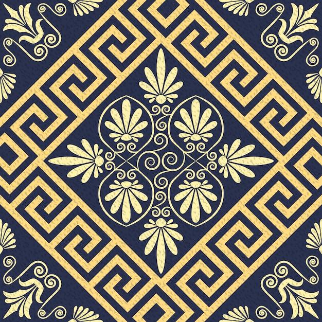 Vector naadloze patroon gouden griekse sieraad (meander) Premium Vector