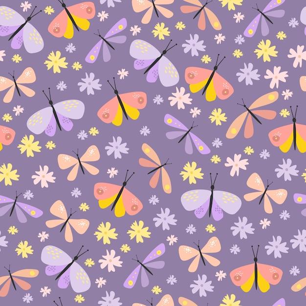 Vector naadloze patroon met vlinders en kevers Gratis Vector