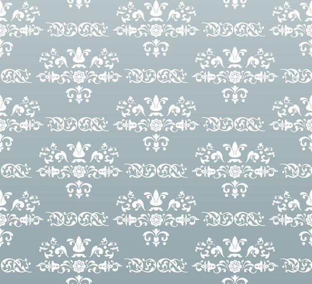 Vector naadloze vintage koninklijke achtergrond. wit op turkoois Gratis Vector