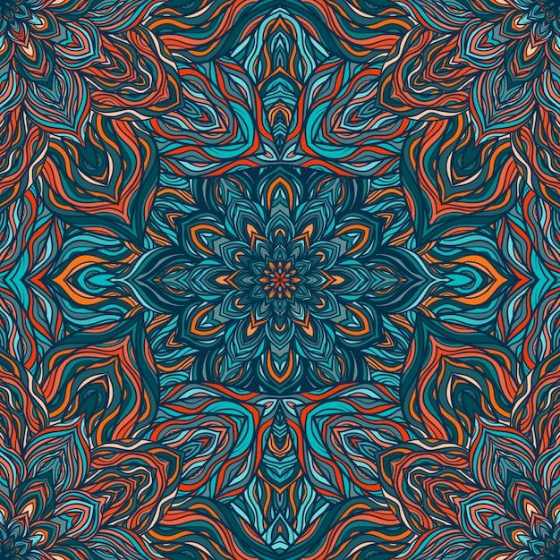 Vector natuur naadloze patroon met abstracte bloemen. Premium Vector