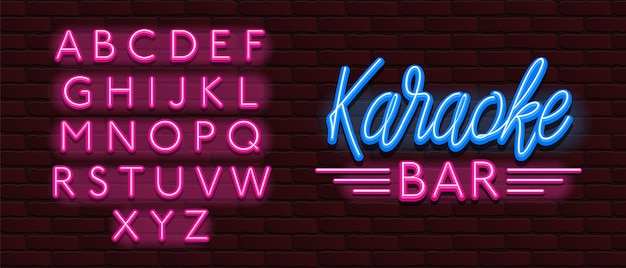 Vector neon gloed lettertype karaoke bar muziek Premium Vector