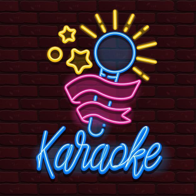 Vector neon karaoke bar muziek Premium Vector