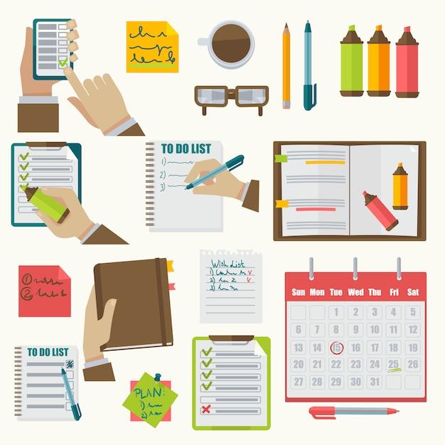 Vector notitieboekjes agenda zakelijke notities collectie. Premium Vector