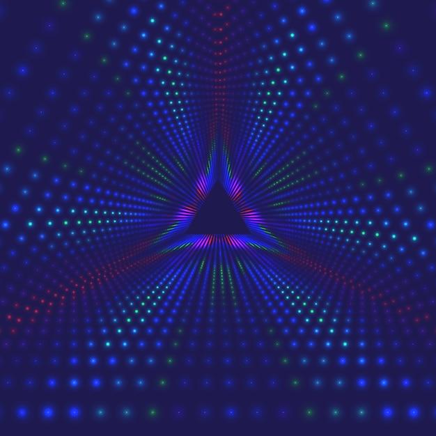 Vector oneindige driehoekige tunnel van glanzende fakkels Gratis Vector