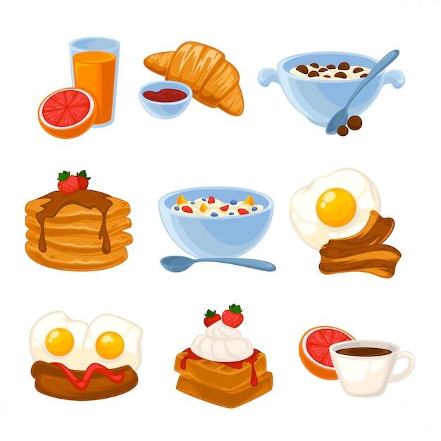 Vector ontbijt eten ingesteld Premium Vector