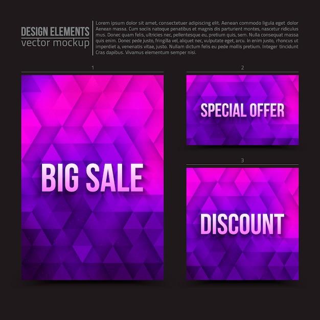 Vector ontwerpelementen flyer kaart banner Premium Vector