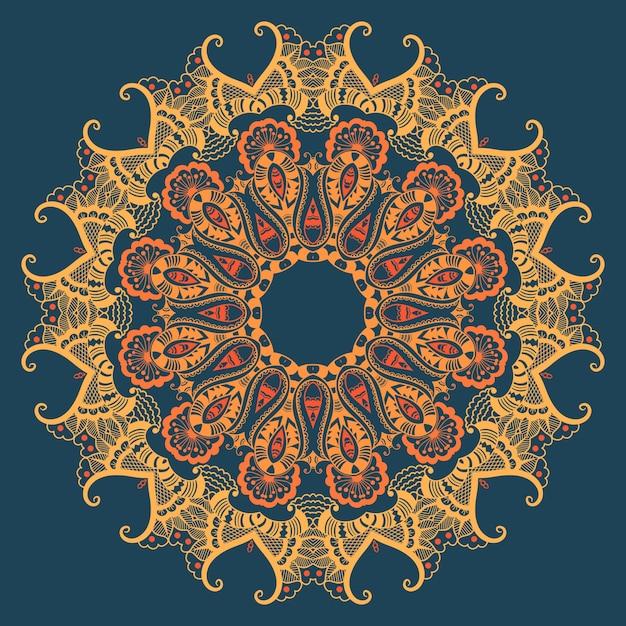 Vector ornamentale ronde kant met damast en arabesque elementen. mehndi stijl. orient traditionele ornament. zentangle-achtige ronde gekleurde bloemenornament. Gratis Vector