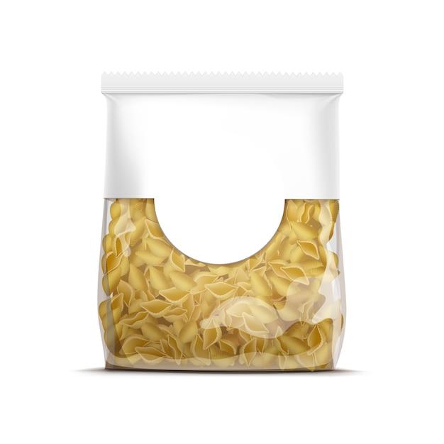 Vector pasta schelpen verpakking sjabloon geïsoleerd Premium Vector