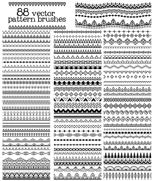 Vector patroon borstel set Gratis Vector