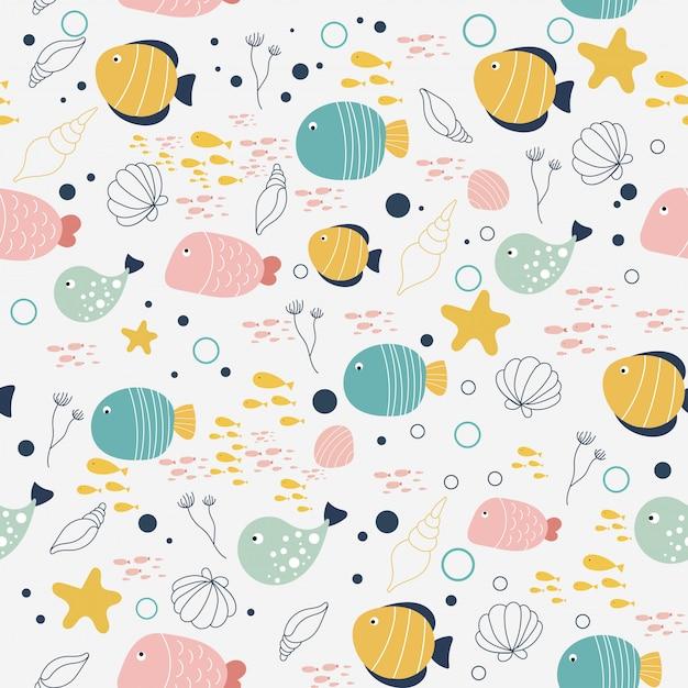 Vector patroon van vis en schaaldieren in de stijl van doodle. Premium Vector