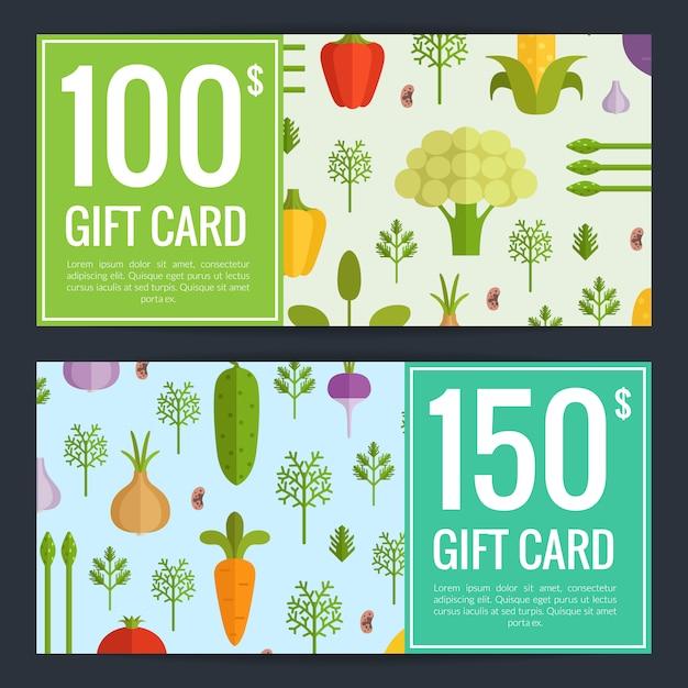 Vector platte groenten veganistisch winkelen voucher sjablonen. geschenkenkaart illustratie Premium Vector