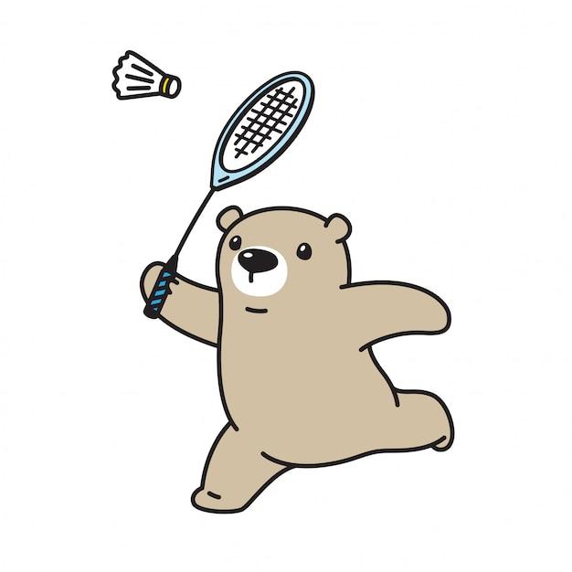 Vector polaire badminton cartoon dragen Premium Vector
