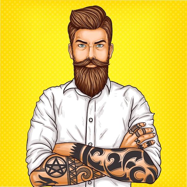 Vector pop art illustratie van een brutale bebaarde man, macho met tatoo Gratis Vector
