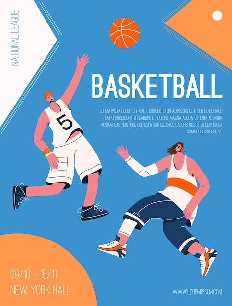 Vector poster van basketball national league concept. spelers in uniform spelen met bal, concurreren in toernooi. uitnodiging ontwerp van sportcompetitie. Premium Vector