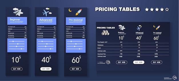 Vector prijzen tabelsjabloon in moderne lijnstijl. Premium Vector