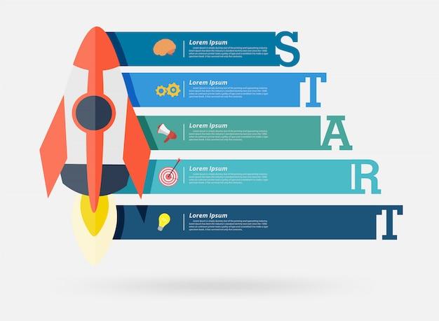 Vector raket project opstarten bannerontwerp Premium Vector
