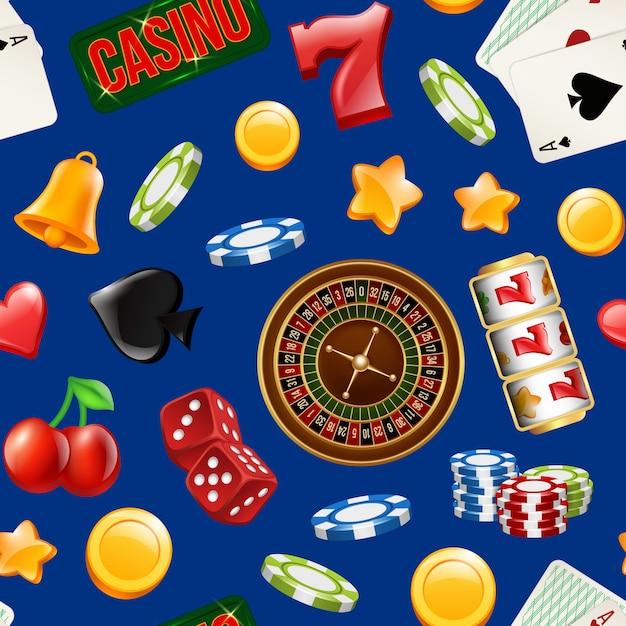 Vector realistisch casino gok naadloos patroon Premium Vector