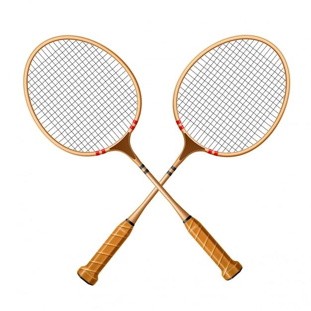 Vector realistisch gekruist racket 3d pictogram voor sport Premium Vector