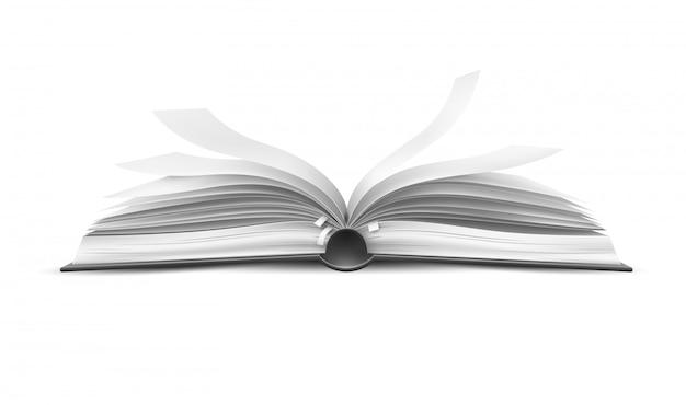 Vector realistisch open boek met fladderende pagina's Premium Vector