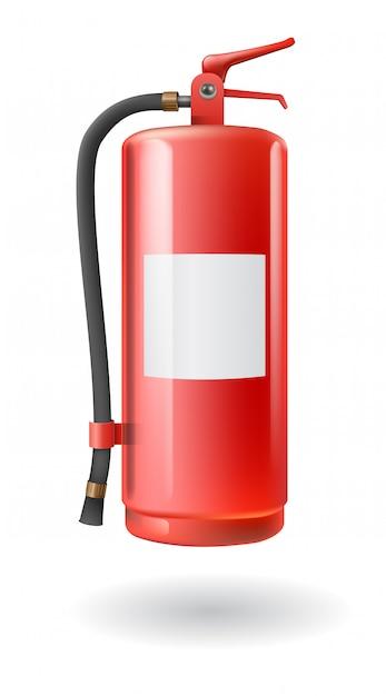 Vector realistisch rood brandblusapparaat Premium Vector