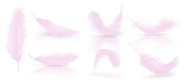 Vector realistische 3d reeks roze vogelveren Premium Vector