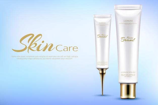 Vector realistische cosmetische promobanner voor het bevochtigen van schoonheidsmiddelen. Gratis Vector