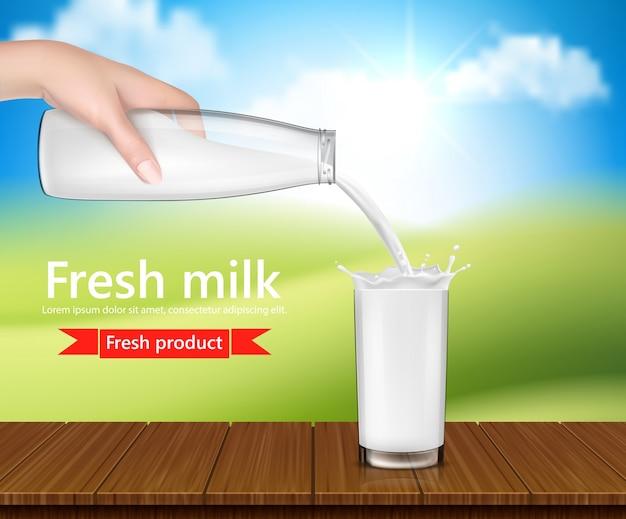 Vector realistische illustratie, achtergrond met hand met een melk glazen fles en gieten melk Gratis Vector
