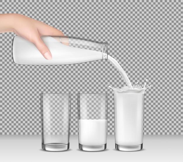 Vector realistische illustratie, hand die een glazen fles melk, melk in drinkbril giet Gratis Vector