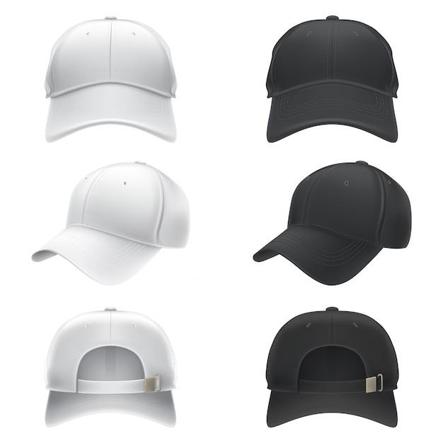 Vector realistische illustratie van een witte en zwarte textiel baseball cap voor, achter en zijaanzicht Gratis Vector
