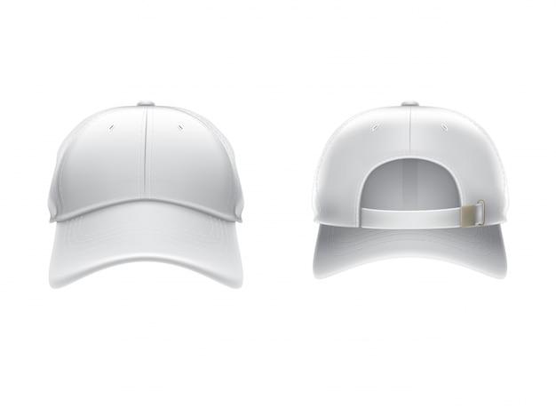 Vector realistische illustratie van een witte textiel baseball cap voor en achter Gratis Vector