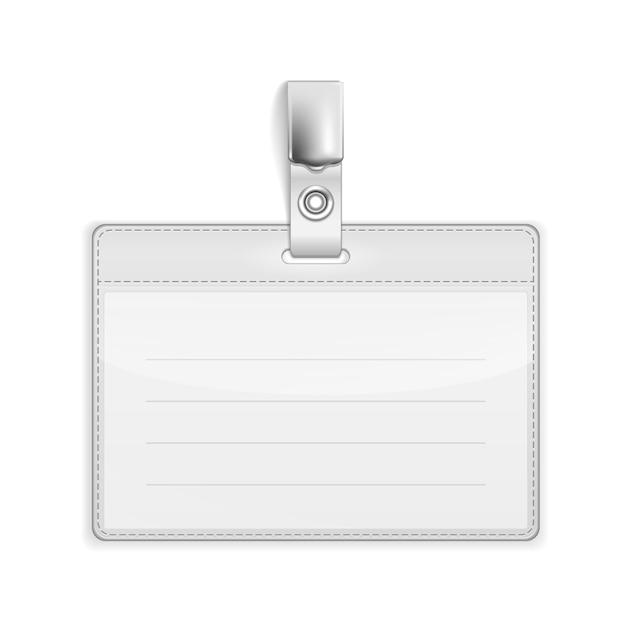 Vector realistische kaartnaam of id-houder geïsoleerd op wit Gratis Vector