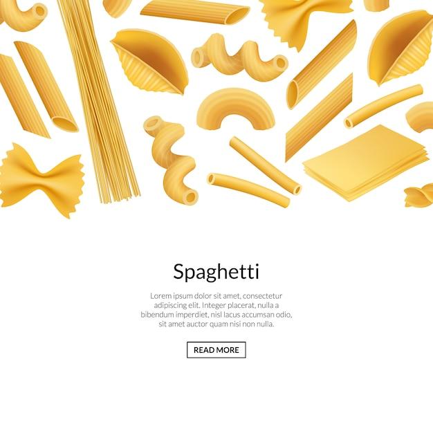 Vector realistische pasta soorten banner illustratie Premium Vector