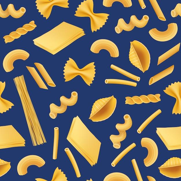 Vector realistische pasta typen naadloos patroon Premium Vector