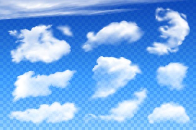 Vector realistische wolken op transparant blauw Premium Vector