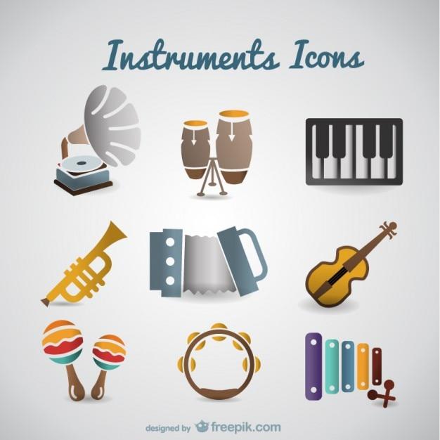 Vector retro muziek instrumenten ingesteld Gratis Vector