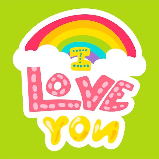 Vector romantische liefde patch in doodle stijl Premium Vector